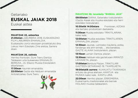 """GETARIAKO EUSKAL JAIAK 2018 – """"Eguna jantzi dugu, eta zu biluzik?"""""""